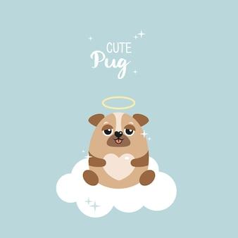 Pug fofo em uma nuvem. cão amável em um fundo azul do vetor. estrelas, coração. cartão postal, pôster, roupas, tecido, papel de embrulho.