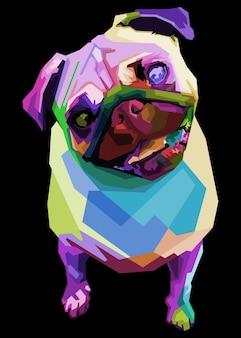 Pug fofo no estilo geométrico pop art, ilustração.
