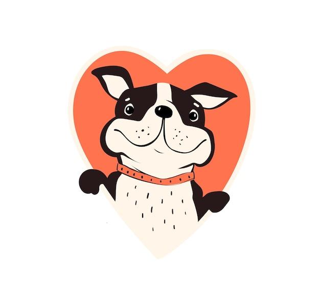 Pug ou bulldog em moldura de forma de coração, segurando o coração com ilustração de patas.