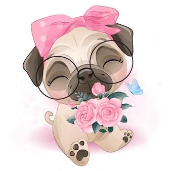 Pug pequeno bonito segurando uma rosas