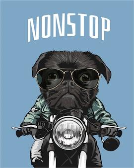 Pug preto em óculos de sol andando de moto ilustração