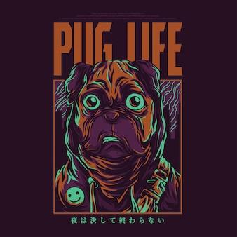 Pug vida ilustração