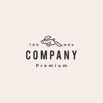 Pulando correndo coelho lebre coelho hipster modelo de logotipo vintage