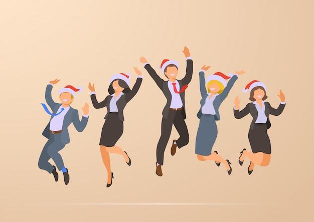 Pulando dançando feliz escritório de negócios pessoas natal festa corporativa ilustração de férias