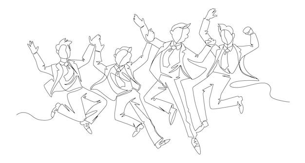 Pulando empresário arte linha contínua. celebrando pessoas de sucesso. conceito linear de trabalho em equipe de negócios.