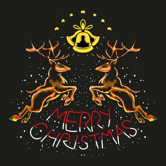 Pulando natal renas ilustração vetorial premium design de camiseta