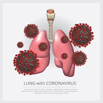 Pulmão com vírus corona 2019-ncov vector illustration