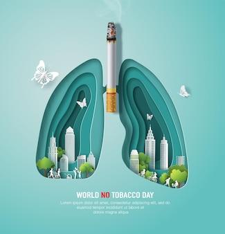 Pulmão do dia mundial sem tabaco com uma cidade e cigarro