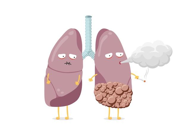 Pulmão doente e insalubre personagem de desenho animado fumando cigarro sistema respiratório humano órgão interno
