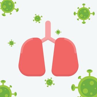 Pulmão humano. 2019-ncov. pulmão humano com coronavírus. conceito de coronavírus. ilustração.