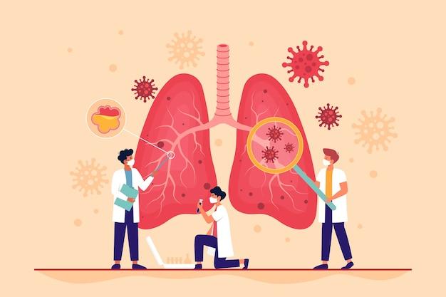 Pulmões afetados pelo coronavírus com pneumonia