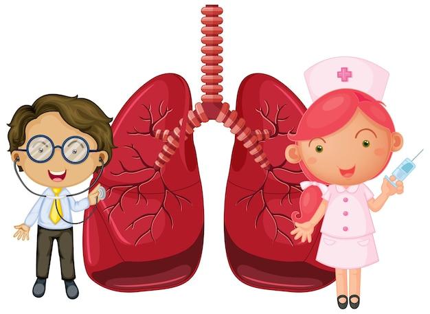 Pulmões com um médico e um personagem de desenho animado de enfermeira