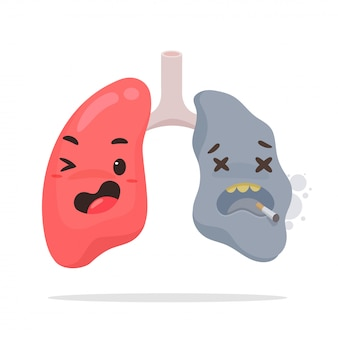 Pulmões de fumar dos desenhos animados.