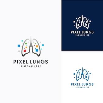 Pulmões digitais, conceito de design de logotipo pixel lungs, conceito de design, logotipo, elemento de logotipo para modelo