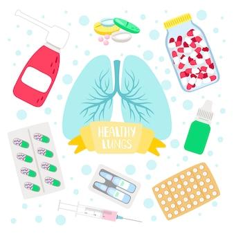 Pulmões e pílulas saudáveis