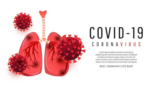 Pulmões humanos dos desenhos animados infectados com células da bactéria coronavírus isoladas com copispea. ilustração. 2019-ncov novas bactérias do coronavírus