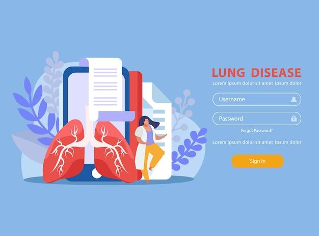 Pulmões humanos e formulário de login do médico