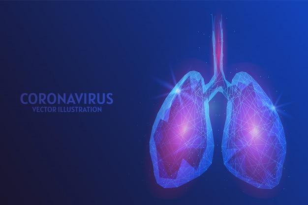 Pulmões humanos inflamados. infecção por infecção viral por coronavírus chinês covid-19. conceito de pandemia e epidemia de pneumonia atípica. ilustração de estrutura de arame de baixo poli.