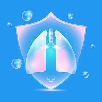 Pulmões protegidos com escudo de saúde