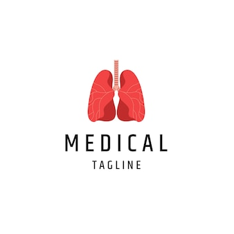 Pulmões saudáveis ilustração vetorial plana de modelo de ícone de logotipo médico