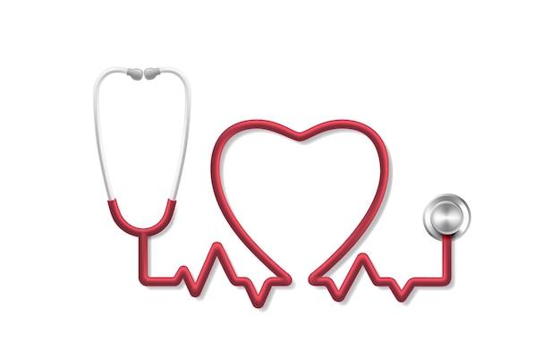 Pulso cardíaco do estetoscópio, diagnóstico médico da ferramenta, sinal de saúde