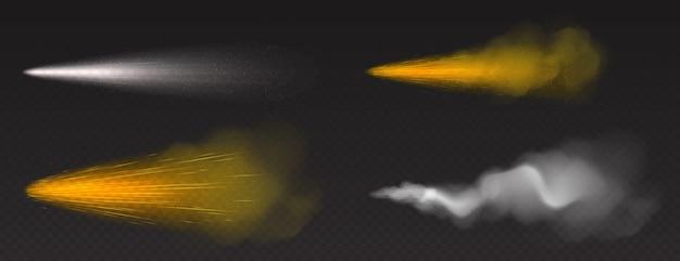 Pulverização de poeira, fumaça dourada e branca, pó ou trilha de gotas de água com partículas