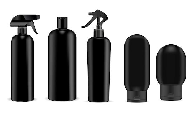 Pulverizador de cosméticos preto e shampoo, frasco de gel