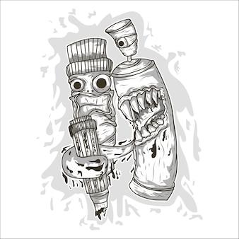 Pulverizador de graffiti de vetor dos desenhos animados