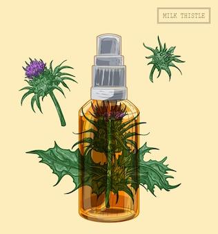 Pulverizador e flores de cardo de leite medicinal, ilustração desenhada à mão em estilo retro