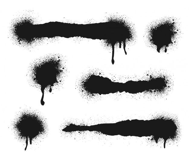 Pulverize linhas pintadas e pontos de grunge e conjunto de linhas esparramadas