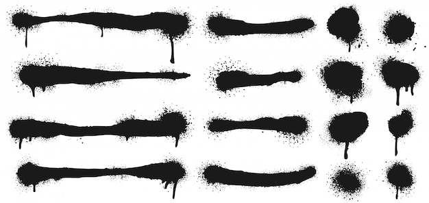 Pulverize linhas pintadas e pontos de grunge. pintar formas de círculo de splatter, traços de desenho de graffiti e conjunto de textura de arte de rua suja