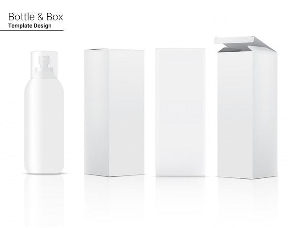 Pulverize o cosmético realista do frasco e a caixa para o produto de skincare ou a ilustração da medicina. cuidados de saúde e design de conceito médico.