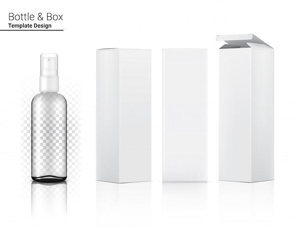 Pulverize o cosmético realista transparente da caixa e a caixa para o produto de skincare ou a medicina na ilustração branca do fundo. cuidados de saúde e design de conceito médico.