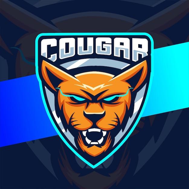 Puma puma mascote esport design de logotipo