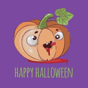 Pumpkin look halloween funny flat design ilustração desenhada à mão