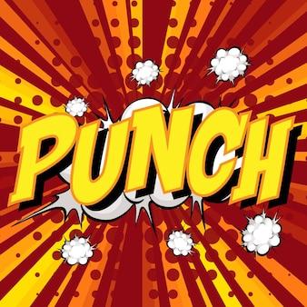 Punch com palavras em quadrinhos no balão de fala no estouro