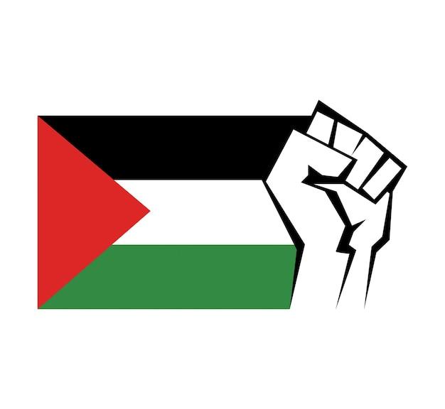 Punho cerrado contra o fundo da bandeira do país palestino e o símbolo da unidade