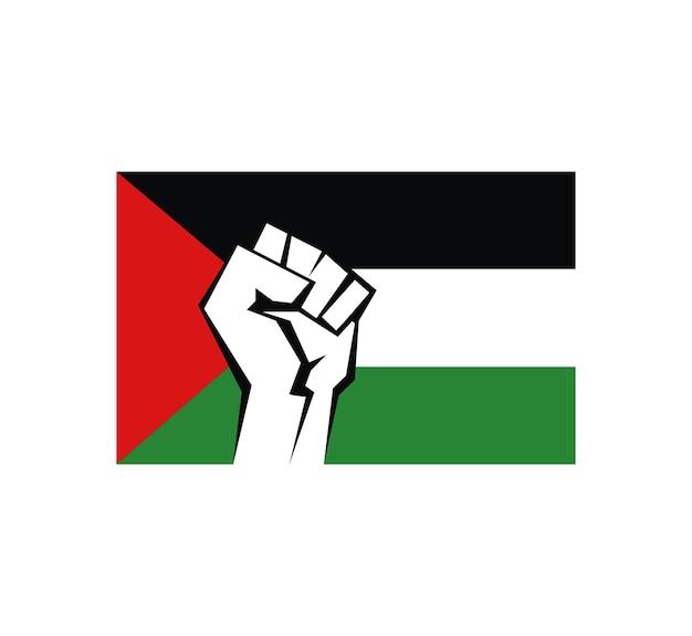 Punho cerrado contra o pano de fundo da bandeira da palestina um símbolo de liberdade e militar