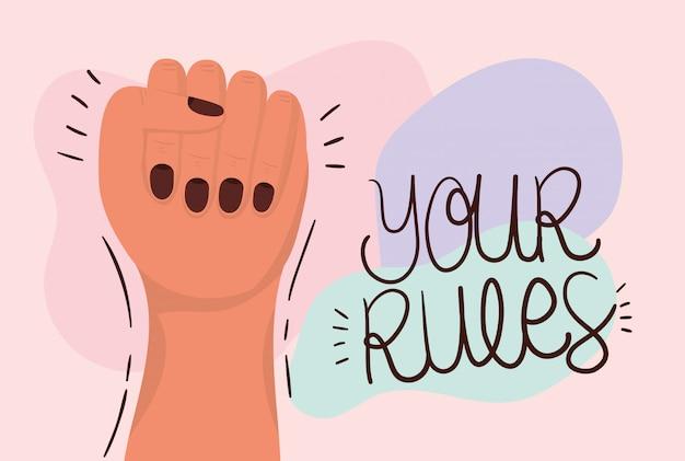 Punho de mão e suas regras de empoderamento das mulheres. ilustração do conceito feminista de poder feminino
