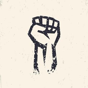 Punho erguido em protesto, silhueta grunge