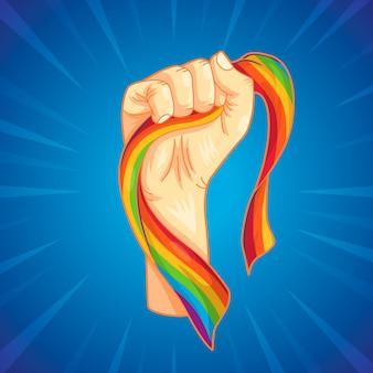 Punho forte e bandeira do arco-íris