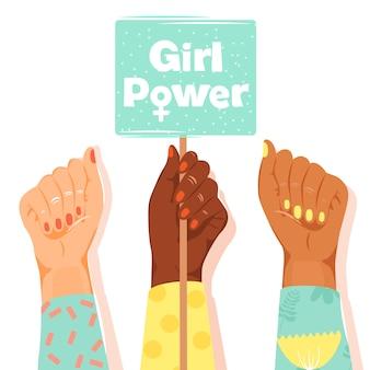 Punhos da mulher mostrando seu poder