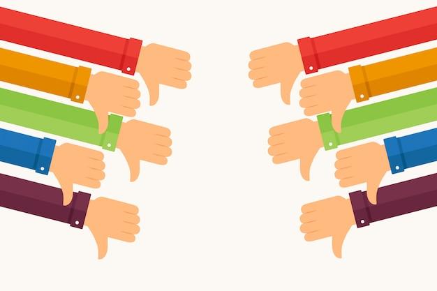 Punhos para baixo com mangas em várias cores