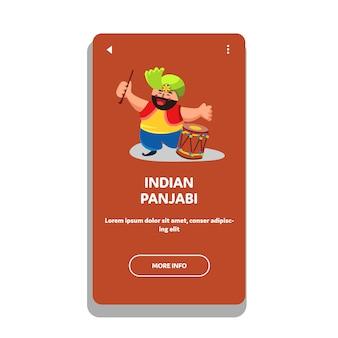 Punjabi indiano com baquetas e dhol