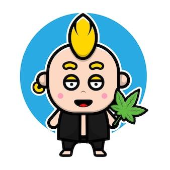 Punk fofo com personagem de desenho animado de folha de maconha
