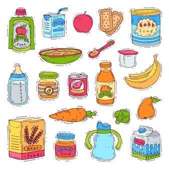 Puré de purê de legumes de nutrição saudável de criança comida para bebê na jarra e suco fresco com maçãs de bananas frutas para conjunto de saúde de puericultura