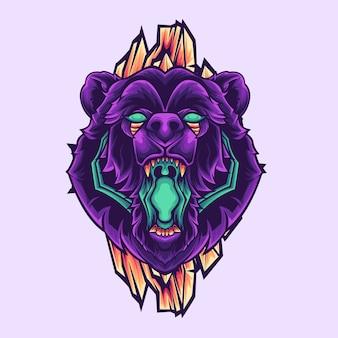 Purple bear mascot Vetor Premium