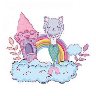 Purrmaid com castelo e arco-íris na nuvem