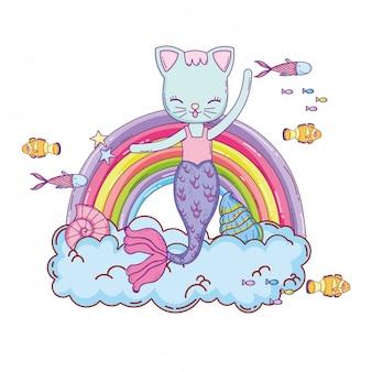Purrmaid com nuvens e arco-íris submarino