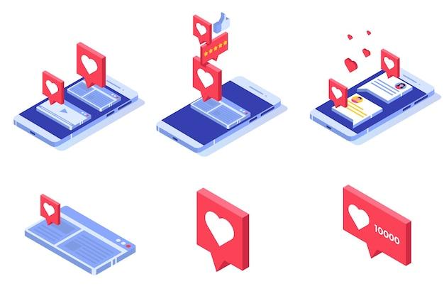 Push like notificações. conceito de rede social.